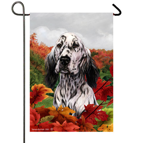 "English Setter Black and White  - Best of Breed Fall Leaves Garden Flag 12"" x 17"""