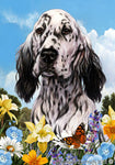 "English Setter Black and White  - Best of Breed Summer Flowers Garden Flag 12"" x 17"""