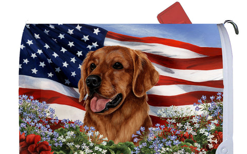 Golden Retriever Red - Best of Breed Patriotic I Dog Breed Mail Box Cover