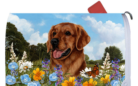 Golden Retriever Red - Best of Breed Summer Flowers Dog Breed Mail Box Cover