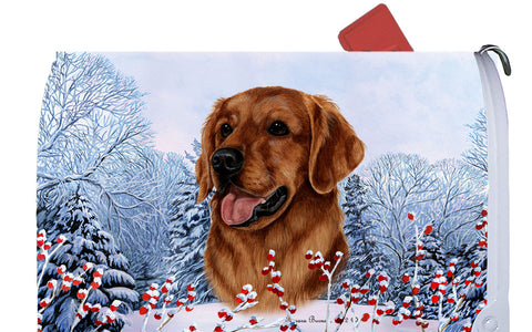Golden Retriever Red - Best of Breed Winter Berries Dog Breed Mail Box Cover