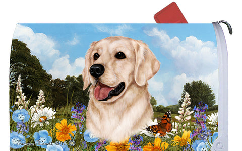 Golden Retriever White - Best of Breed Summer Flowers Dog Breed Mail Box Cover
