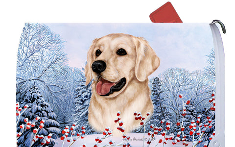 Golden Retriever White - Best of Breed Winter Berries Dog Breed Mail Box Cover