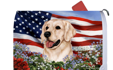 Golden Retriever White - Best of Breed Patriotic I Dog Breed Mail Box Cover