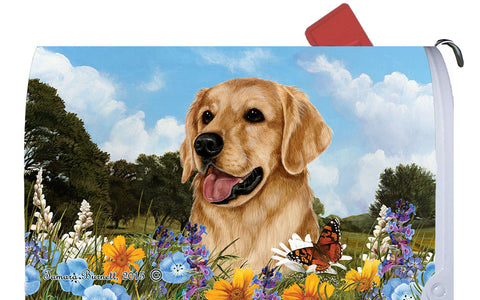 Golden Retriever - Best of Breed Summer Flowers Dog Breed Mail Box Cover