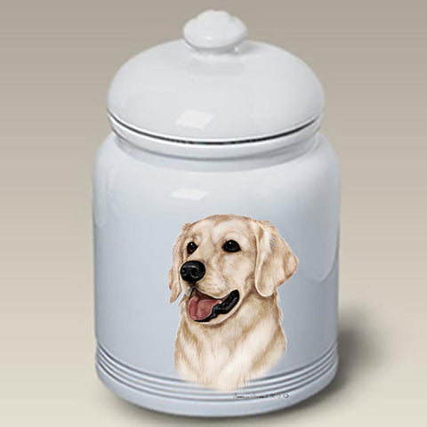 Golden Retriever White - Best of Breed Stoneware Ceramic  Doggie Treat Jar