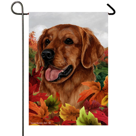 "Golden Retriever Red - Best of Breed Fall Leaves Garden Flag 12"" x 17"""
