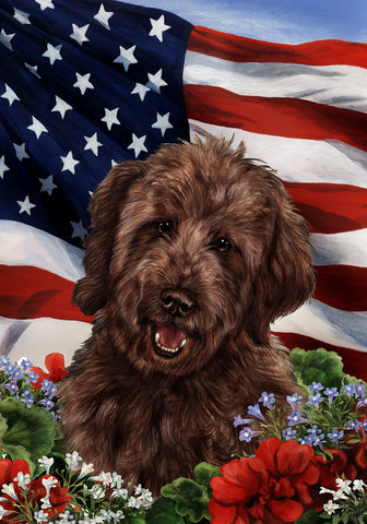 "Goldendoodle  Chocolate - Best of Breed Patriotic I Garden Flag 12"" x 17"""
