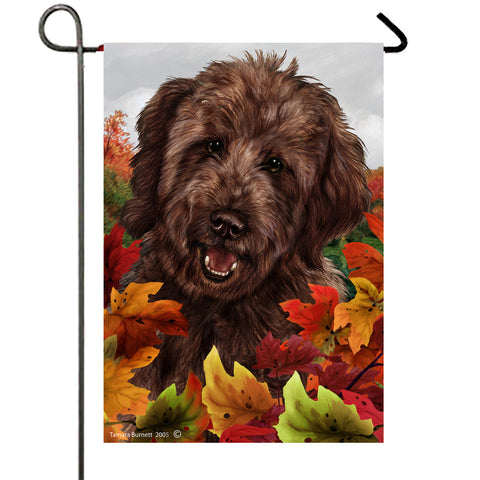 "Goldendoodle  Chocolate - Best of Breed Fall Leaves Garden Flag 12"" x 17"""