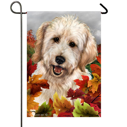 "Goldendoodle White - Best of Breed Fall Leaves Garden Flag 12"" x 17"""