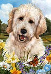 "Goldendoodle White - Best of Breed Summer Flowers Garden Flag 12"" x 17"""