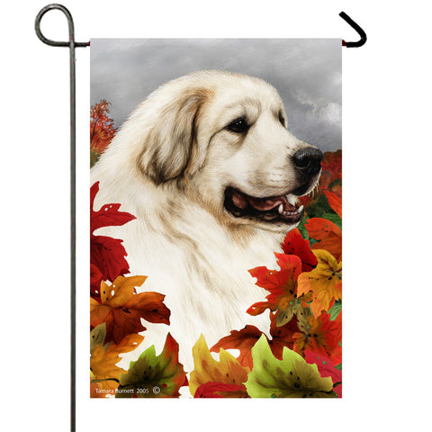 "Great Pyrenees - Best of Breed Fall Leaves Garden Flag 12"" x 17"""