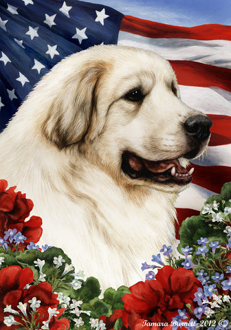 "Great Pyrenees - Best of Breed Patriotic I Garden Flag 12"" x 17"""