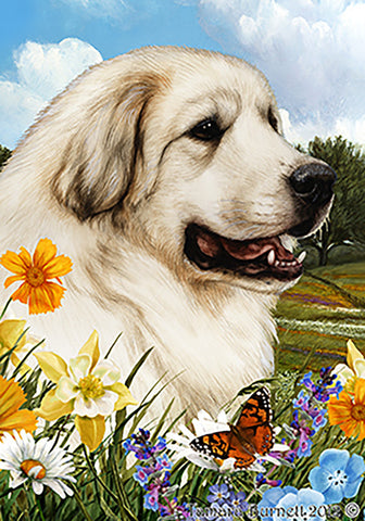 "Great Pyrenees - Best of Breed Summer Flowers Garden Flag 12"" x 17"""