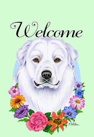 "Great Pyrenees - Best of Breed Welcome Flowers Garden Flag 12"" x 17"""