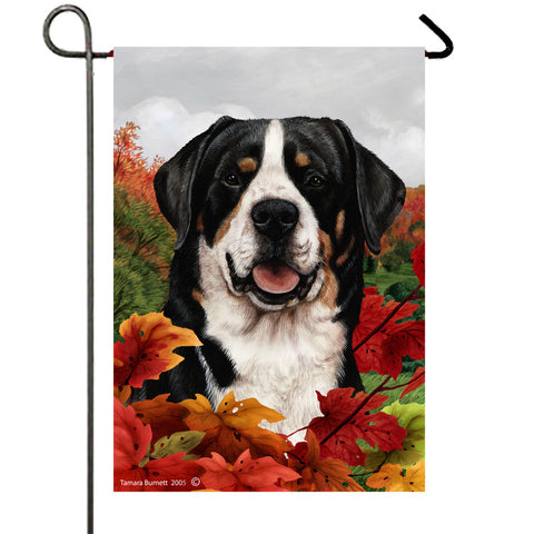 "Greater Swiss Mountain Dog - Best of Breed Fall Leaves Garden Flag 12"" x 17"""