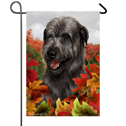"Irish Wolfhound Black - Best of Breed Fall Leaves Garden Flag 12"" x 17"""