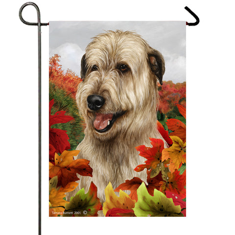 "Irish Wolfhound Fawn - Best of Breed Fall Leaves Garden Flag 12"" x 17"""