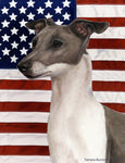 "Italian Greyhound Blue/White - Best of Breed Patriotic II Garden Flag 12"" x 17"""