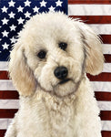 "Labradoodle White- Best of Breed Patriotic II Garden Flag 12"" x 17"""