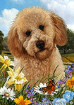 "Labradoodle Red- Best of Breed Summer Flowers Garden Flag 12"" x 17"""