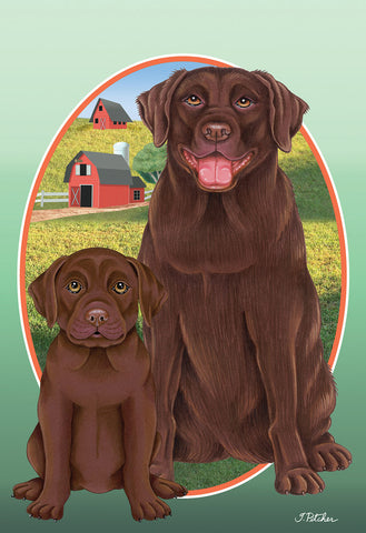 "Chocolate Labrador- Best of Breed On The Farm Garden Flag 12"" x 17"""