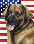 "Leonberger- Best of Breed Patriotic II Garden Flag 12"" x 17"""
