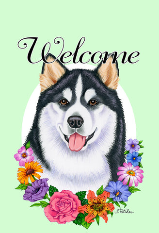 Alaskan Malamute - Best of Breed Welcome Flowers Outdoor Flag