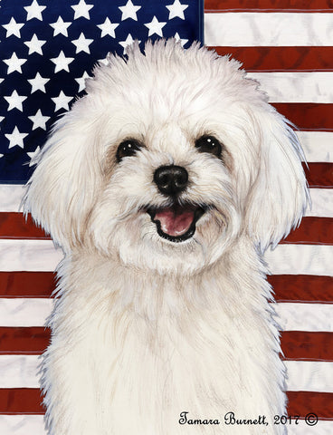 "Maltipoo- Best of Breed Patriotic II Garden Flag 12"" x 17"""