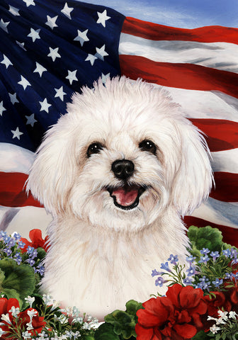 "Maltipoo- Best of Breed Patriotic I Garden Flag 12"" x 17"""