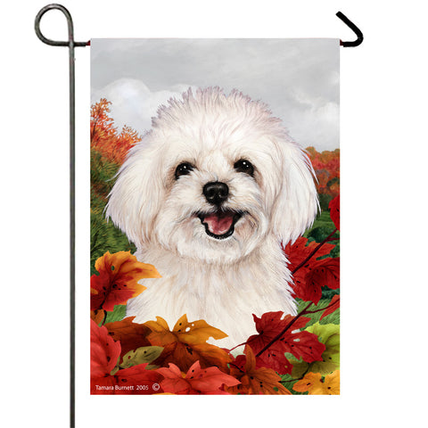 "Maltipoo- Best of Breed Fall Leaves Garden Flag 12"" x 17"""