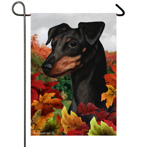 "Miniature Pincsher  Black/Tan Uncropped- Best of Breed Fall Leaves Garden Flag 12"" x 17"""