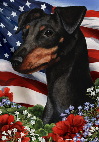 "Miniature Pincsher  Black/Tan Uncropped- Best of Breed Patriotic I Garden Flag 12"" x 17"""