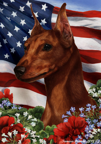 "Miniature Pincsher  Red  Cropped- Best of Breed Patriotic I Garden Flag 12"" x 17"""