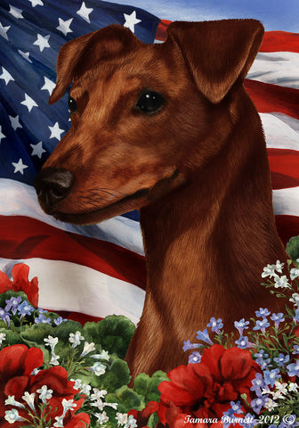 "Miniature Pincsher  Red  Uncropped- Best of Breed Patriotic I Garden Flag 12"" x 17"""