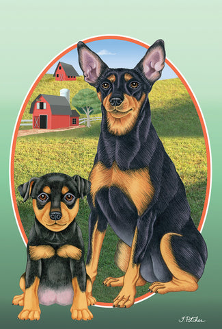 "Miniature Pincsher  Black/Tan Cropped- Best of Breed On The Farm Garden Flag 12"" x 17"""