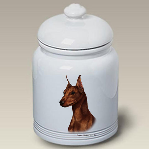 Miniature Pincsher  Red  Cropped- Best of Breed Stoneware Ceramic  Doggie Treat Jar