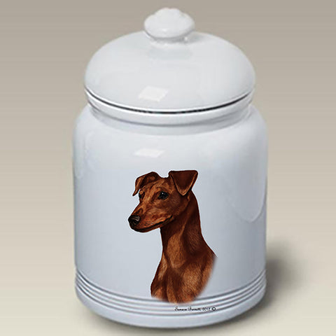 Miniature Pincsher  Red  Uncropped- Best of Breed Stoneware Ceramic  Doggie Treat Jar
