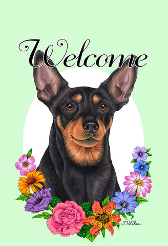 "Miniature Pincsher  Black/Tan Cropped- Best of Breed Welcome Flowers Garden Flag 12"" x 17"""