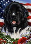 "Newfoundland Landseer- Best of Breed Patriotic I Garden Flag 12"" x 17"""