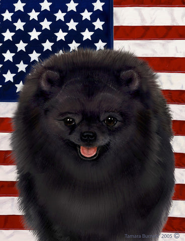 "Pomeranian Black- Best of Breed Patriotic II Garden Flag 12"" x 17"""