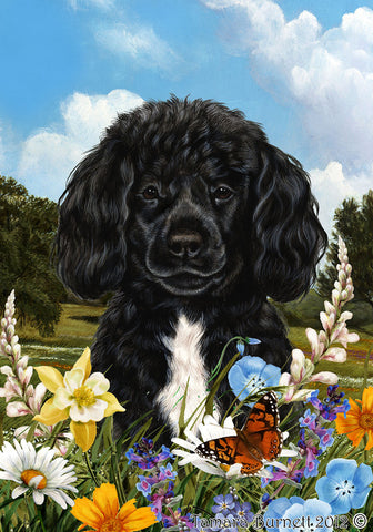 "Portuguese Water Dog Black Bearded - Best of Breed Summer Flowers Garden Flag 12"" x 17"""