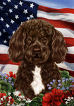 "Portuguese Water Dog Chocolate/White - Best of Breed Patriotic I Garden Flag 12"" x 17"""