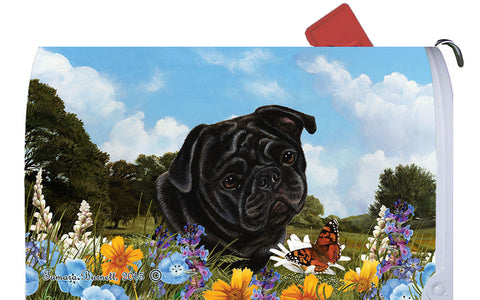Pug Black- Best of Breed Summer Flowers Dog Breed Mail Box Cover