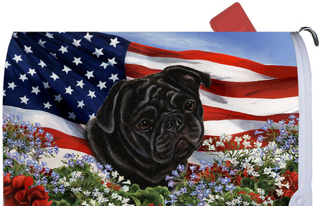 Pug Black- Best of Breed Patriotic I Dog Breed Mail Box Cover