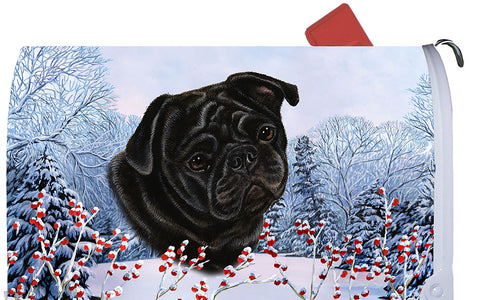 Pug Black- Best of Breed Winter Berries Dog Breed Mail Box Cover