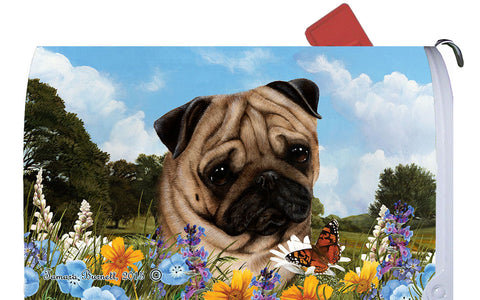 Pug Fawn - Best of Breed Summer Flowers Dog Breed Mail Box Cover