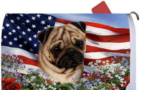 Pug Fawn - Best of Breed Patriotic I Dog Breed Mail Box Cover
