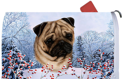 Pug Fawn - Best of Breed Winter Berries Dog Breed Mail Box Cover