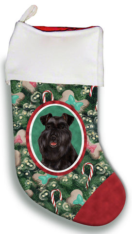 Schnauzer Black Uncropped- Best of Breed Christmas Stocking